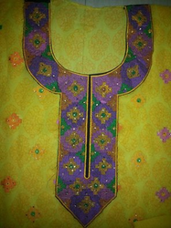 Heavy Neck Embroiderd Pure Chiffon Yellow Semi Stitchd Suit