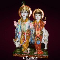 Le Royal Kraft Multicolor Marble Radha Krishna Statue