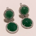 Green Onyx with American Diamond Earrings