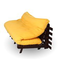 ARRA Double Futon Sofa Cum Bed with Mattress - Yellow