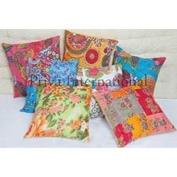 Handmade Kantha Stitch Cushion Cover