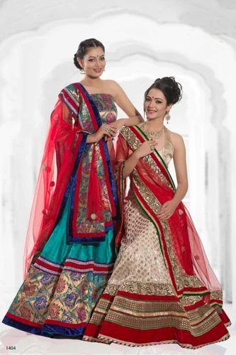 Bridal Double Color Lehenga Designer Sarees