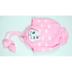 Light Pink Printed Kids Woolen Cap