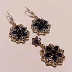 Turkish Black Pendant Earring Set