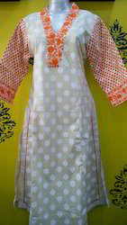 V Neck Cotton Kurti