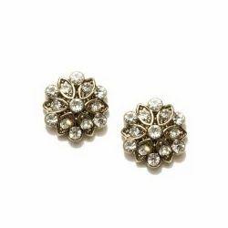 Gold Toned Embellished Stud Earring