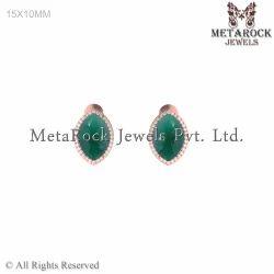 14k Rose Gold Stud Diamond Earring