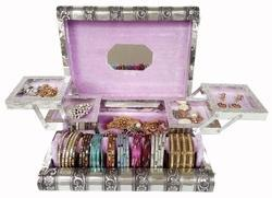 Antique Elephant Designed Metal Jewelry Box - Lavender