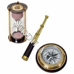 Brass Telescope And Compass