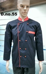 Black With Red Piping Chef Coats