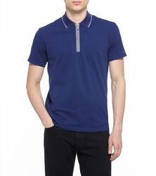 Mens Polyester Blue Collar Casual T Shirts