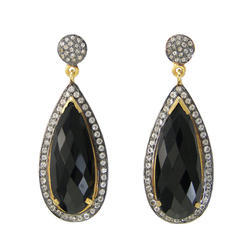 Black Onyx Pave Set Gemstone Earrings