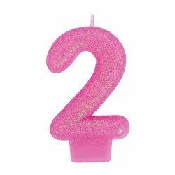 Birthday Glitter Candle 2 Pink