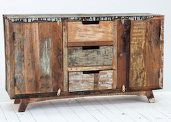 Vintage Colorful Reclaimed Wood Side Board Cabinet