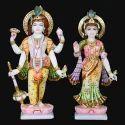 Laxmi Narayan Painted Marble Statue