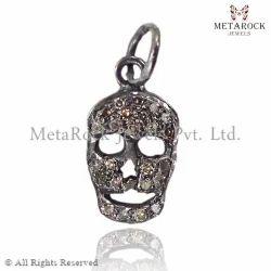 Pave Diamond Skull Design Pendant