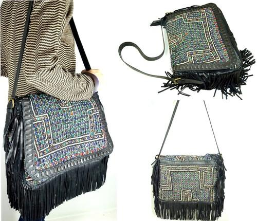 Fashion Leather Handbags Gypsy Tote Bags Leather Fringe Bags