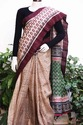 Hand Block Printed Tussar Saree