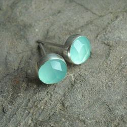 Aqua Blue Chalcedony Gemstone Earring