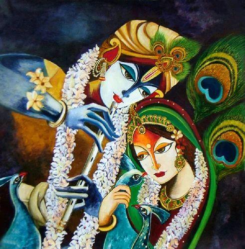 radha and krishna original acrylic painting at rs 25000 pack