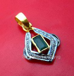 Diamond Emerald Charm Pendant