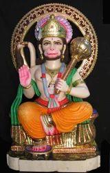 Sitting Marble Hanuman Statue
