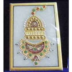 Marble Jewellery Tile in Gold Painting