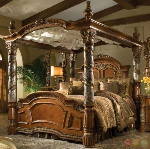 Villa Valencia Cal King Canopy Bed Marble Posts Aico Michae