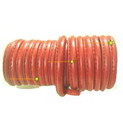 Red Stitched Genuine Round Nappa Leather Cord