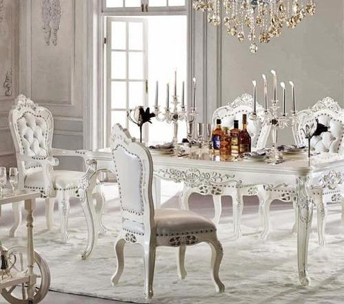Modern Victorian Dining Room: White Victorian Wooden Dining Table, Rs 1200 /onwords