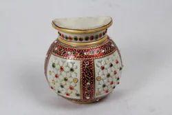 Marble Semi Circular Meenakari Jaali Pot