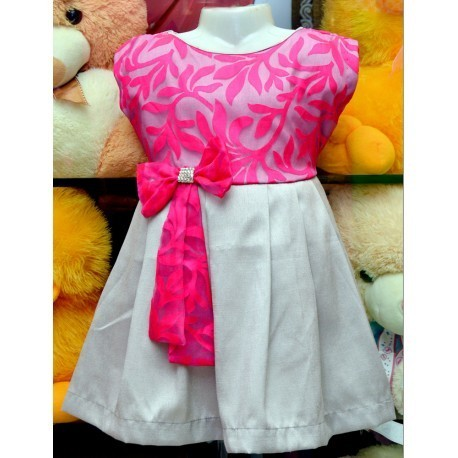 9a446b907 Lil Angels Clothes - Brasso Net with Pink Floral Print Grey Frock ...