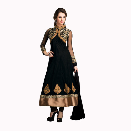 29bd6088c5 Black Net Designer Partywear Anarkali Churidar Kameez - V Dream ...