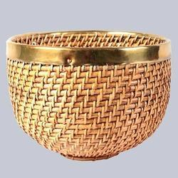 Egg Shape Cane Planter Basket