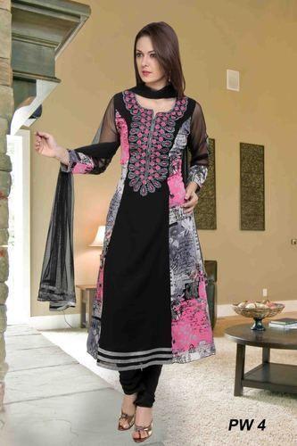 Ladies Printed Designer Suits, Chhape Huye Ladies Suit, Printed ...