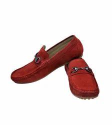 Red Suede Buckle Shoe
