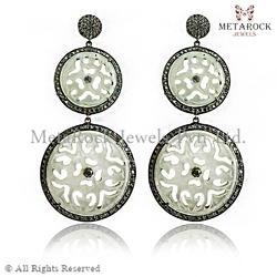 Diamond Carved Earring Jewelry