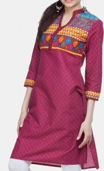 Wine Printed Formal Kurti