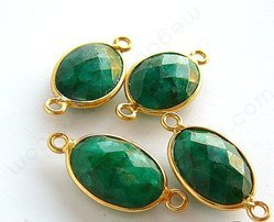 Dyed Emerald Gemstone 925 Sterling Silver Bezel Connectors