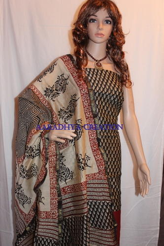 Hand Block Printed Chanderi Silk Suit, Chhape Huye Ladies Suit ...