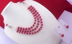 Coral- Pearl Beaded Necklace