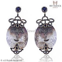 Silver Gemstone Carved Earring