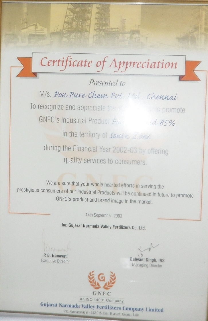 Awards and Achievements of Pure Chemicals Co  | Anna Nagar