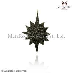 Star Design Pave Diamond Pendant Charms