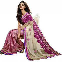 Party Wear Embroidered Saree View Specifications Details Of