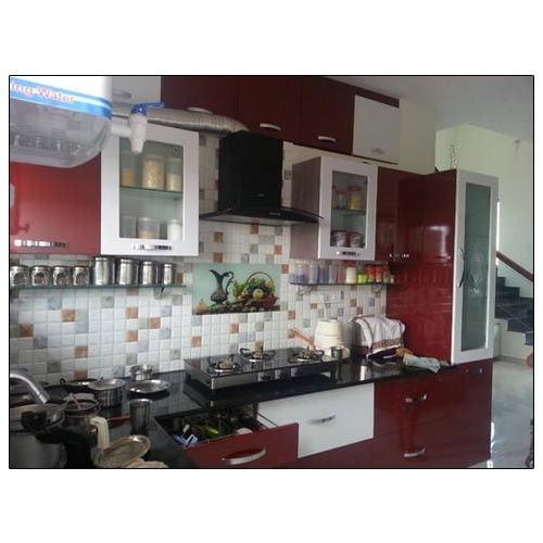 Glossy Shangrilla White Colour Combination Straight Modular Kitchen Rs 120000 Unit Id 7917803612