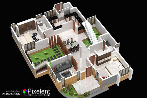 pixelent house planning 3d plan kannur kerala - 3d Plan House