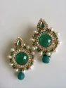 Green Antique Pearl Earrings