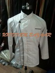 White Chef Coat with Black Piping - CU-29