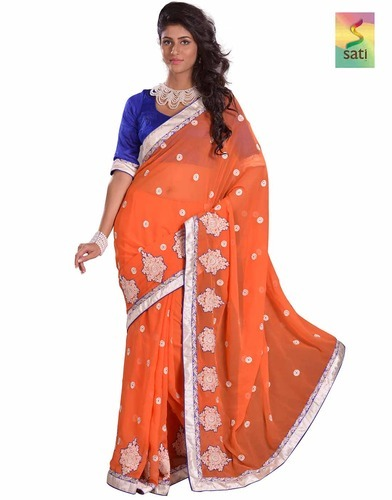 9363b588ff475 DEST2773  Sati Orange Coloured Chiffon Saree at Rs 2000  piece(s ...
